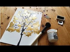 Unique Painting Technique – Gold Leaf Tree With Blow Art Watercolor - Painting Techniques Watercolor Painting Techniques, Diy Painting, Watercolor Art, Knife Painting, Unique Paintings, Tree Paintings, Gold Leaf Paintings, Painting With Gold Leaf, Abstract Paintings