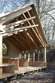 Image 4 of 27 from gallery of Chapel St Genevieve / OBIKA Architecture. Photograph by Nicolas Waltefaugle Timber Architecture, Architecture Details, Japan Architecture, Steel Roofing, Roofing Shingles, Roof Truss Design, Timber Roof, Timber Structure, Pole Barn Homes