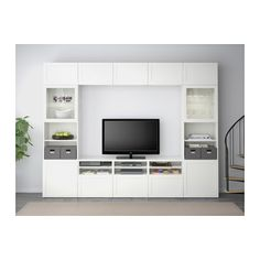 BESTÅ TV storage combination/glass doors, Hanviken, Sindvik white clear glass Hanviken/Sindvik white clear glass drawer runner, push-open 118 1/8x15 3/4x90 1/2
