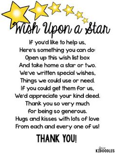 When You Wish Upon a Star {A Beginning of the Year Classroom Wishlist.  May need to revise and not put stars in a box, but display another way.  Poem is great!
