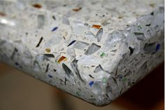 Counter tops made of recycled glass by Gilasi. Recycled Countertops, Countertop Options, Recycled Glass, Recycling, Counter Tops, Decor, Countertops, Vanity Tops, Decoration