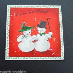 #D355- Vintage Unused Hallmark Xmas New Year Greeting Card Cute Snowman Couple | eBay
