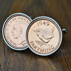 Farthing Cufflinks, 1937-1955 Coin, 70th Birthday, 80th Birthday Cufflinks, Birth Year Cufflinks, Coin Cufflinks, Mens Birthday, Anniversary Copper Anniversary Gifts, Anniversary Present, Advertising Pictures, Birth Year, Present Gift, 80th Birthday, Coins, Cufflinks, Presentation