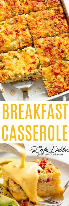 Breakfast Casserole with Bacon or Sausage - Cafe DelitesYou can find Breakfast casserole with hashbrowns and more on our website.Breakfast Casserole with Bacon or Sausage - Cafe Delites Easy To Make Breakfast, Breakfast For Dinner, Breakfast Dishes, Breakfast Recipes, Breakfast Potatoes, Breakfast Ideas, Breakfast Cafe, Breakfast Quiche, Healthy Breakfast Casserole