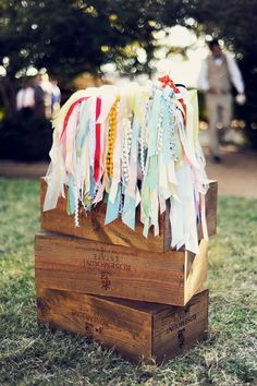Ribbon wands to wave when the bride and groom are announced.