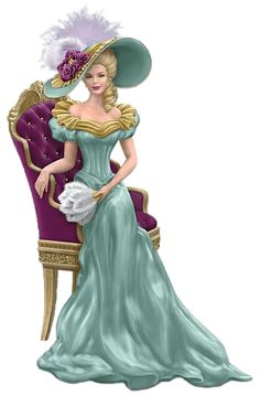 FIRST limited-edition Thomas Kinkade Victorian lady figurines inspired by his opulent manors art and graced with handset faux gems and real feathers. Thomas Kinkade, Victorian Women, Victorian Fashion, Vintage Fashion, Vintage Pictures, Vintage Images, Afrique Art, Art Thomas, Elegant Woman