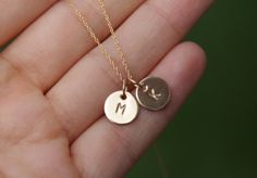 initial necklace, tiny initial necklace, gold filled initial, monogram necklace, personalized necklace on Wanelo