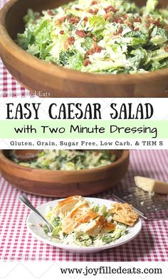 Easy Caesar Salad with Two Minute Dressing - Low Carb, Grain Free, Gluten Free, THM S via @joyfilledeats