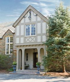 tudor house exterior paint colors - The simplest way to transform your home's barrier address is by sprucing up your exoteric with color. Tudor Exterior Paint, Tudor House Exterior, Exterior Paint Colors For House, Paint Colors For Home, Exterior Design, Exterior Colors, Paint Colours, English Tudor Homes, Tudor Cottage