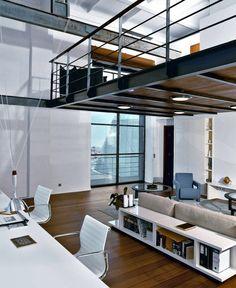 loft or modern studio interior Industrial Apartment, Industrial House, Industrial Design, Apartment Interior, Room Interior, Loft Design, House Design, Loft Stil, Loft Interiors