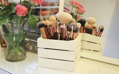 Our small wooden crate has numerous uses in the home...   https://www.woodenboxuk.com/en-us/crates/rustic-crates/ws512g-small-square-wooden-crate.html  #Makeup #Storage #WoodenCrate #Brushes