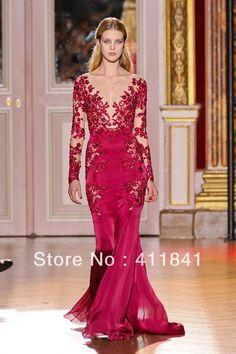 New sexy rouge populaires v manches longues- appliques cou zuhair murad robes de bal robe de soire haute couture