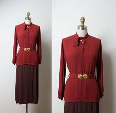 1930s Dress / 30s Crimson Red Crepe Dress