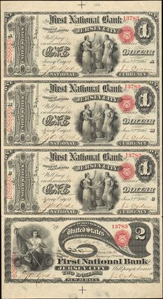 1 Dollar Note and 2 Dollar Note 1865 Jan 2 Serial (a) (b) (c) The First National Bank of Jersey City 374 Signatures: Colby. Old Coins, Rare Coins, Thousand Dollar Bill, Money Notes, Valuable Coins, Play Money, American Coins, Coin Collecting, Walter Raleigh