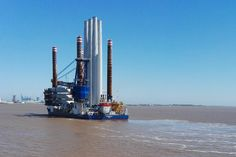 wind turbine installation vessel Sea Installer left the Port of Hull on Sunday, 7 May, with the first load of wind turbine components for DONG Energy's Race Bank offshore wind farm. Offshore Wind Farms, Charter Boat, Wind Turbine, Ships, Sunday, Racing, Sea, Boats, Running