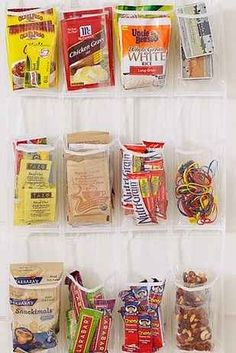 Use a shoe organizer in the kitchen to store sauce packets, snacks, etc.