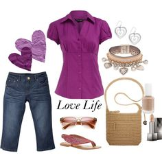 Love this summer casual. Purple rocks! love the style of the top