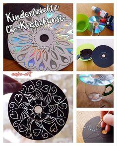 Kinderleichte CD-Kratzkunst, nicht nur zum Muttertag eine schöne Bastel-/Kunstaktion für Kinder jeden Alters
