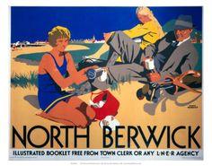 Vintage Travel Poster - UK - North Berwick- Railway