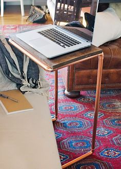DIY Home Decor Project: Copper Laptop Table (would prefer it in gold)