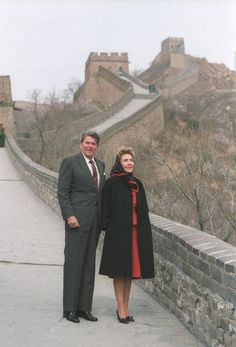 President Ronald Reagan & wife Nancy visit the Great Wall of China
