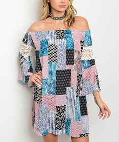 Take a look at this Dusty Pink & Turquoise Patchwork Off-Shoulder Dress today!