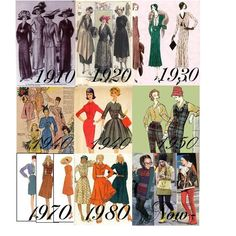 (sorry i couldn't include the ninties!) Look at how much fashion has changed. Fashion Photo, Fashion Art, Evolution Of Fashion, Historical Romance, Fashion History, Timeline Ideas, The Past, Costumes, My Love