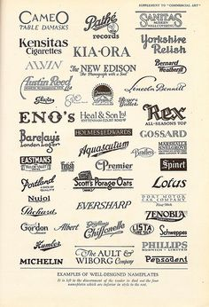 Examples of 'business nameplates', or logos, 1922