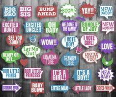 Baby Shower Printable Glitter Colorful Photo Booth props 33 x Speech Bubbles and…