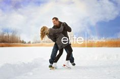 Winter Engagement Session on the ice #wedding #photography #photo #skating #engagement #snow