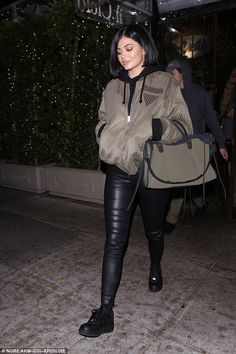 Kylie Jenner steps out in leggings and mesh jacket for dinner Kylie Jenner Makeup, Kylie Jenner Outfits, Kylie Jenner Style, Kendall And Kylie Jenner, Kourtney Kardashian, Kardashian Jenner, Kardashian Style, Travis Scott, Trop Top