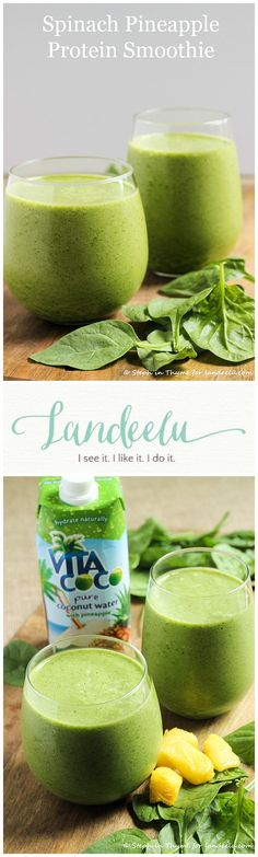 Spinach Pineapple Protein Smoothie - TROPICAL, HEALTHY & YUMMY!