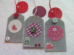 Étiquettes embellissement cadeaux lin gris, boutons, stickers : Emballages cadeaux par latelierdyb