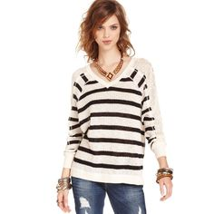 Patiently sitting in my closet waiting to be worn... Free People - Beige Three Quarter V-Neck Striped Lace Sweater