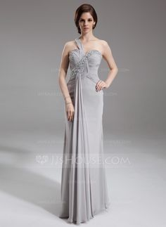 Trumpet/Mermaid One-Shoulder Floor-Length Ruffle Beading Sequins Zipper Up at Side Regular Straps Sleeveless No Silver Spring Summer General Plus Chiffon Mother of the Bride Dress