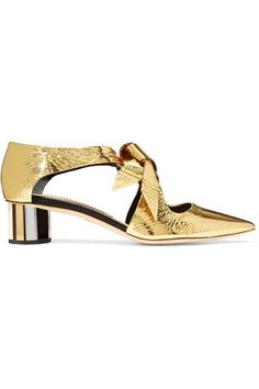 Heel measures approximately 45mm/ 2 inches Gold mirrored-leather Slip on  Made in Italy