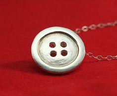 Silver Button Charm in Precious Metal Clay Metal Clay Jewelry, Ceramic Jewelry, Wire Jewelry, Silver Jewellery, Silver Bracelets, Silver Rings, Clay Making, Clay Stamps, How To Make Clay