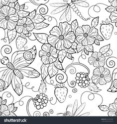 Coloring Pages Enchanting Flowers For Adults Butterfly Pattern Stock Vector