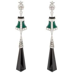 Preowned Green And Black Onyx Platinum Dangle Drop Earrings ($6,600) ❤ liked on Polyvore featuring jewelry, earrings, dangle earrings, green, black onyx drop earrings, green drop earrings, drop dangle earrings, black onyx dangle earrings and platinum earrings