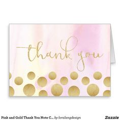 Pink and Gold Thank You Note Card