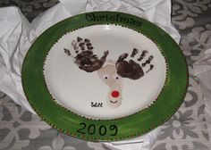 Reindeer Christmas Plate: get cheap $ store plate, use paints, bake