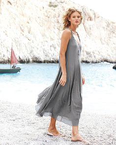 Garnet Hill Cotton Gauze Long Dress