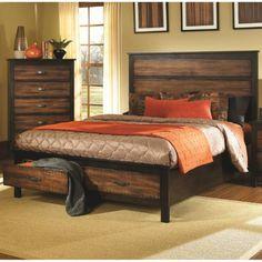Coaster Furniture 202300KE Conway Rustic Eastern King Bed in Two-Tone Brown/Black with Storage Drawers