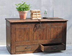 Antique Blanket Box Seamans Chest Trunk With Drawers,vintage interior style by if you looking for rustic, distressed, industrial, ideas for your home then visit www.homebarnshop.co.uk