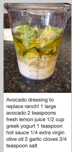 Avocado Dressing…could go on salad, pasta, toss with chicken and put on a sand… Sauce Recipes, Diet Recipes, Vegetarian Recipes, Cooking Recipes, Healthy Recipes, Avocado Dressing, Salad Dressing Recipes, Ranch Dressing, Avocado Salad