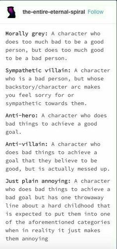 I'm writing about a sympathetic villain in the place of the protagonist. So you think she is good, but everything is done out of hatred and revenge Book Writing Tips, Writing Words, Writing Resources, Writing Help, Writing Ideas, The Words, Writing Promts, Writing Characters, Describing Characters