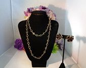 "Reduced! Vtg Swarovski Black & Gold  36"" VTG Necklace with Swan Tag w/Pair of Black and Gold Bezel Crystals with Clip ons. This is a Black Crystal Bezel Earrings and a 36"" Long Necklace which can be doubled.  www.CCCsVintageJewelry.com"