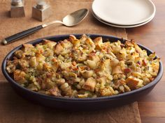 Recipe of the Day: Giada's Ciabatta Stuffing with Chestnuts and Pancetta Give the All-American meal an Italian-style twist. With 200+ tip-top reviews, Giada's rustic ciabatta Thanksgiving stuffing gains a little saltiness from pancetta and an earthiness from roasted chestnuts. Like a lot of Italian dishes, it comes with a sprinkling of Parmesan cheese.