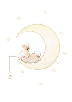 Nursery print BUNNY on MOON Archival Print