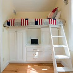 Tiny bedroom solutions...awesome, just needs a rail for the bed!